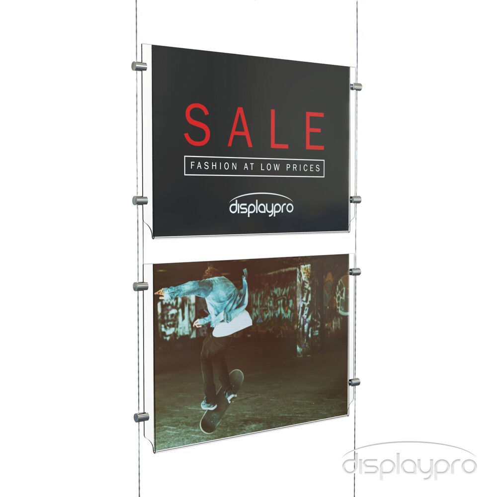 1x2 A4 Landscape Cable Display System Poster Holders Ebay