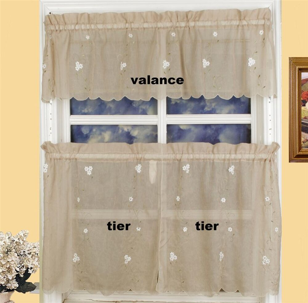 "Daisy Kitchen Curtain Valance & 24"" Tiers 3PCS TAUPE"