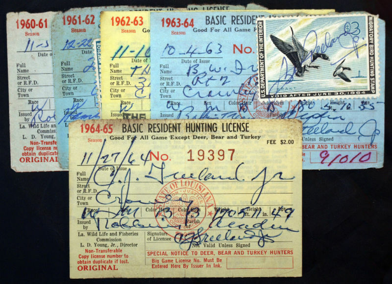 Rw27 rw31 la hunting licenses 5 diff year bl9703 ebay for Fishing license in louisiana