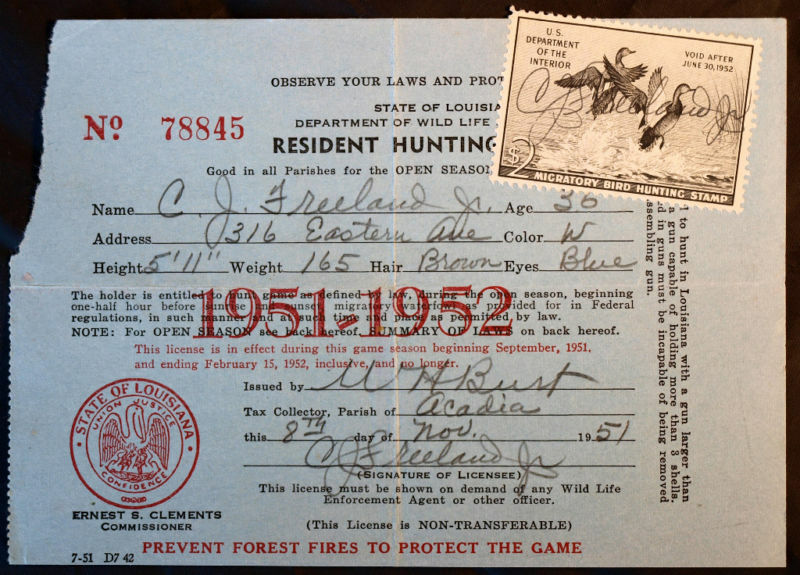 Rw18 duck stamp attached la hunting license bl9715 ebay for Fishing license in louisiana