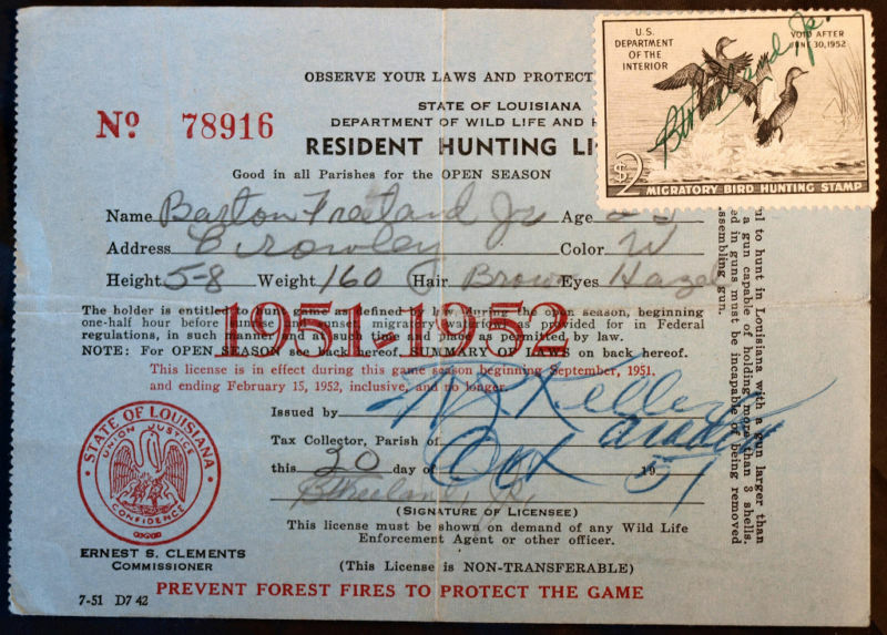 Rw18 duck stamp attached la hunting license bl9716 ebay for Louisiana non resident fishing license
