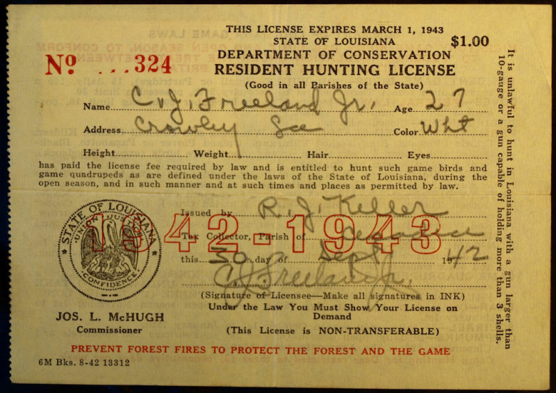 Rw9 duck stamp attached la hunting license bl9731 ebay for Fishing license in louisiana