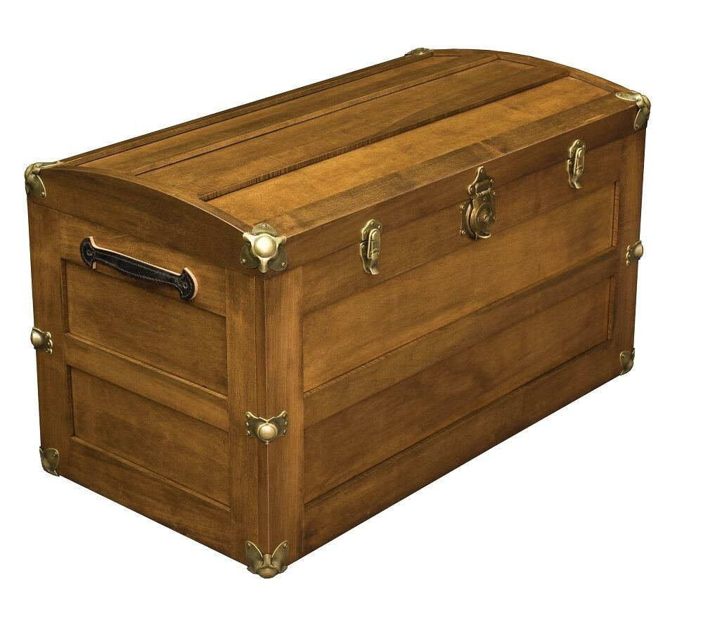 Wood Trunks And Chests ~ Amish storage steamer trunk wooden wood cedar chest new ebay