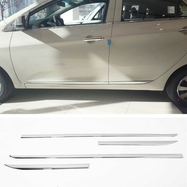 Kia Picanto X Line S 5 Door Hatchback: Chrome Side Door Skirt Sill Accent Molding Garnish 4p For