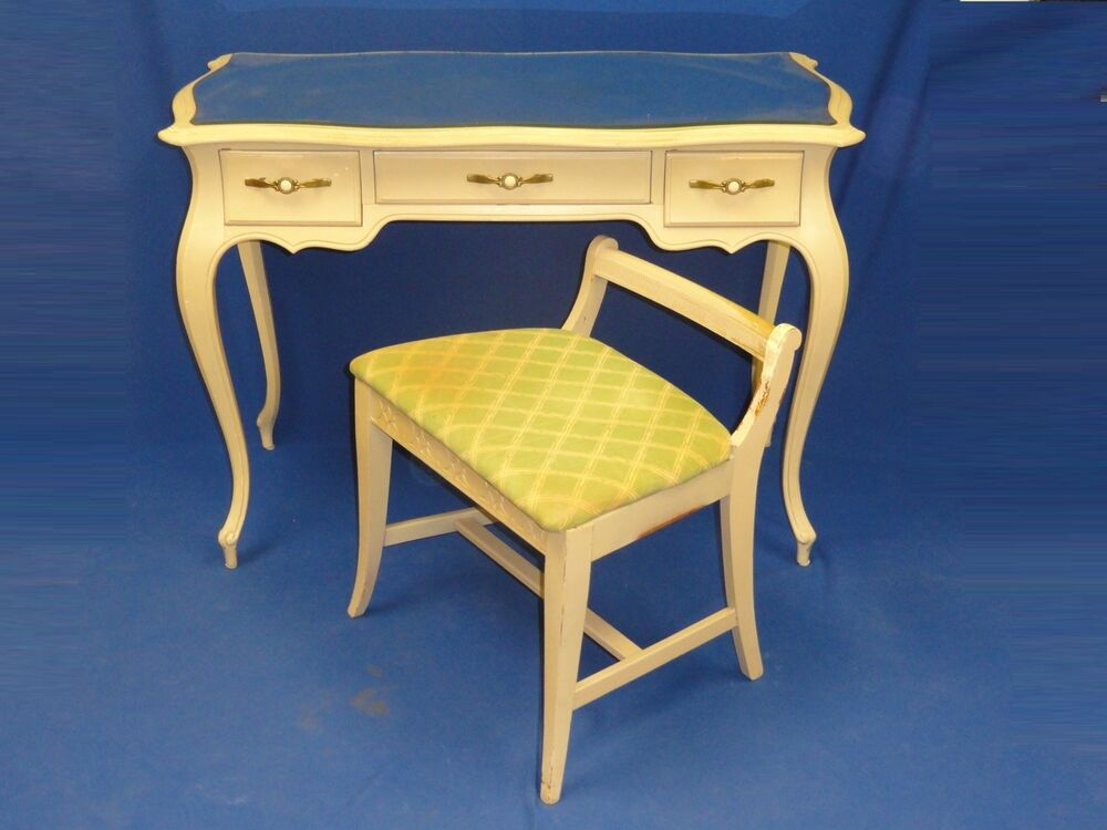 50s Shabby French Provincial Vanity Amp Chair Sligh Furn Ebay