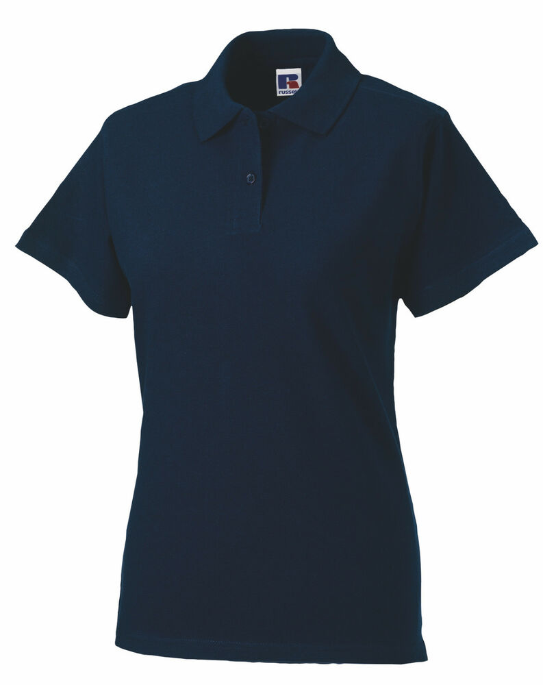 Russell Navy Dark Blue Cotton Pique Womens Womans Ladies