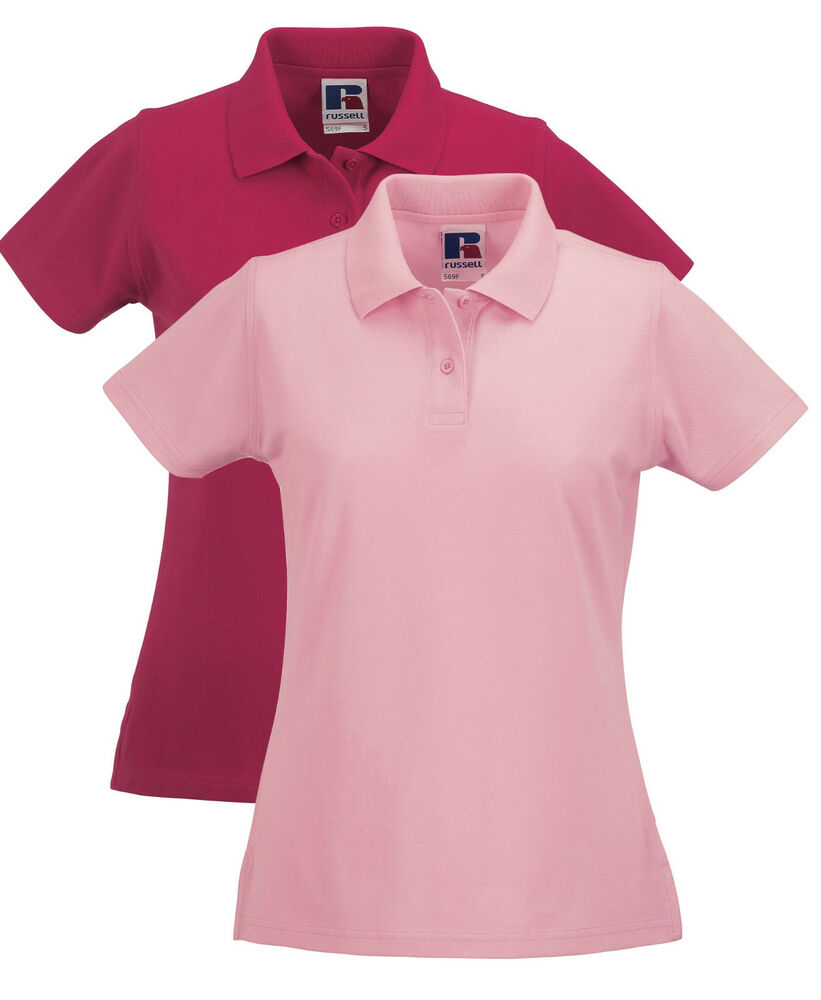 Russell Plain Pink Cotton Pique Womens Ladies Short Sleeve