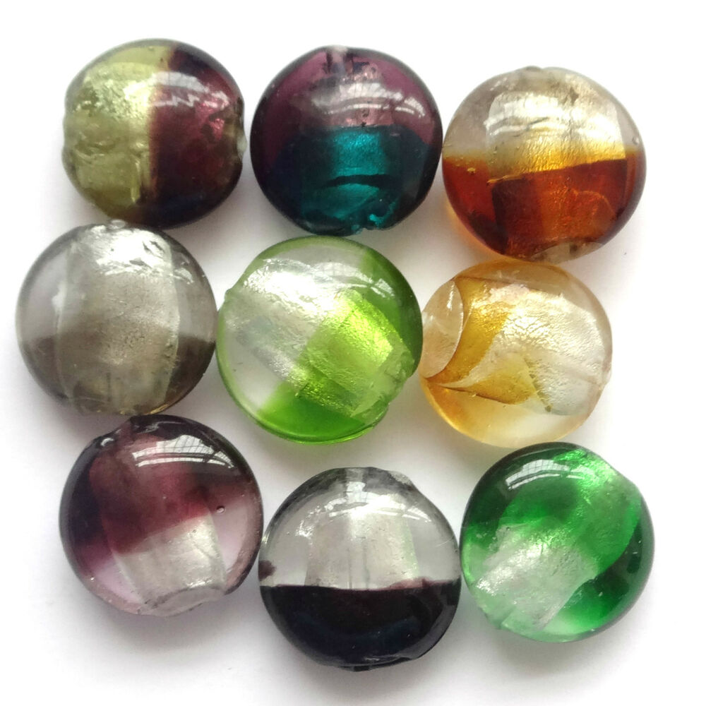 20mm Bead Beads: 50 Silver Foil 20mm Murano Glass Beads - Mix - G062