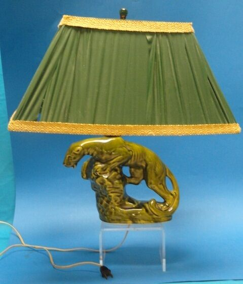Art Deco Chic Panther Emerald Green Lamp Ebay