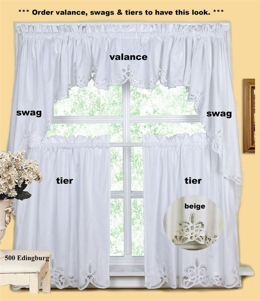 Batteburg kitchen curtain valance tier swag beige white ebay Beige curtains