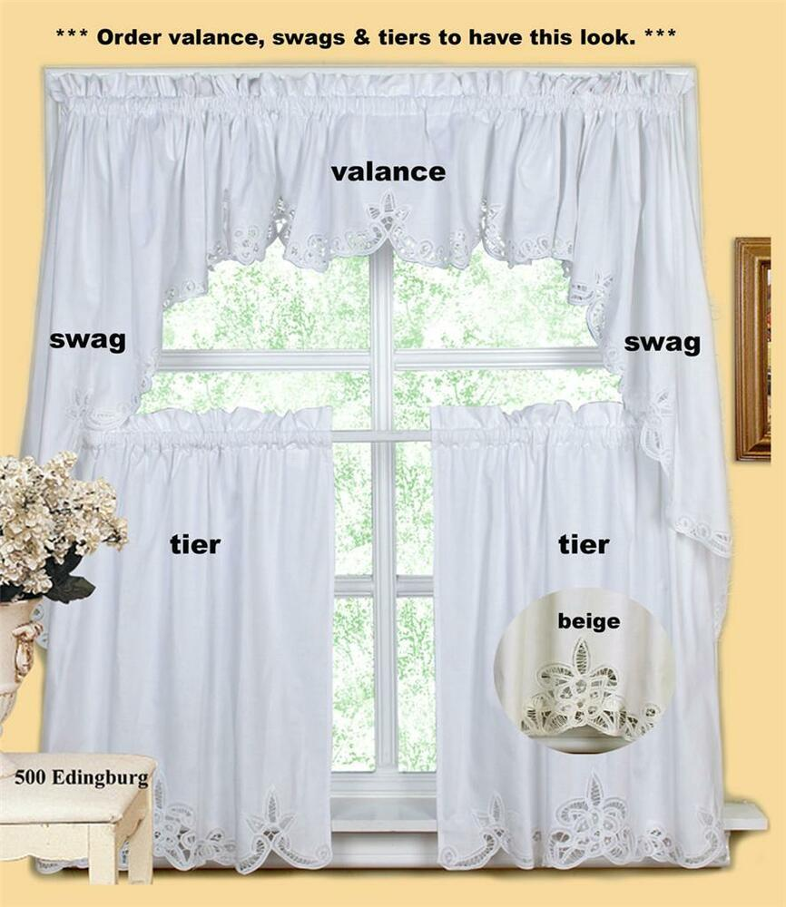 Batteburg kitchen curtain valance tier swag beige white ebay for Valance curtains for kitchen
