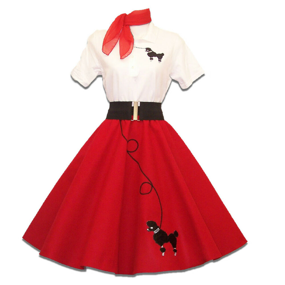 6 pc Adult 50u0026#39;s POODLE SKIRT Outfit Costume - Red | eBay
