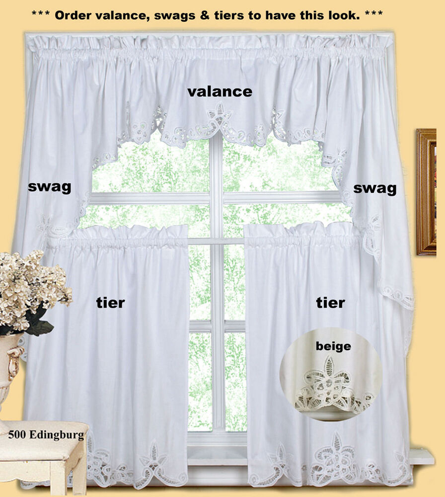 Creative Linens Battenburg Kitchen Curtain Valance Tier