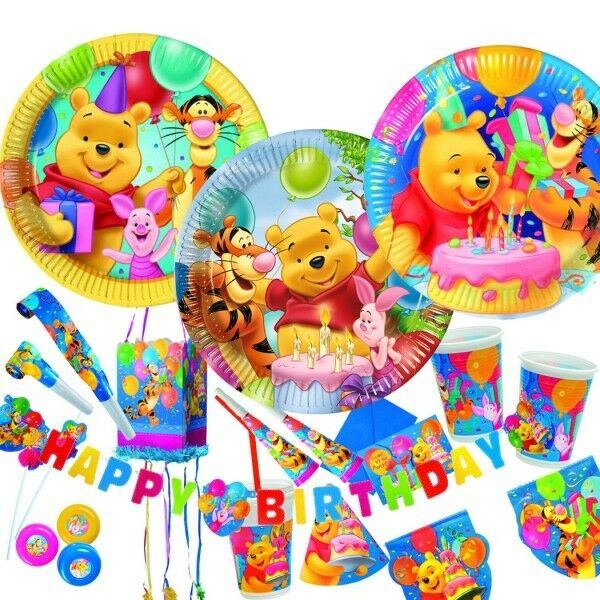 winnie pooh kindergeburtstag geburtstag set party deko ebay. Black Bedroom Furniture Sets. Home Design Ideas
