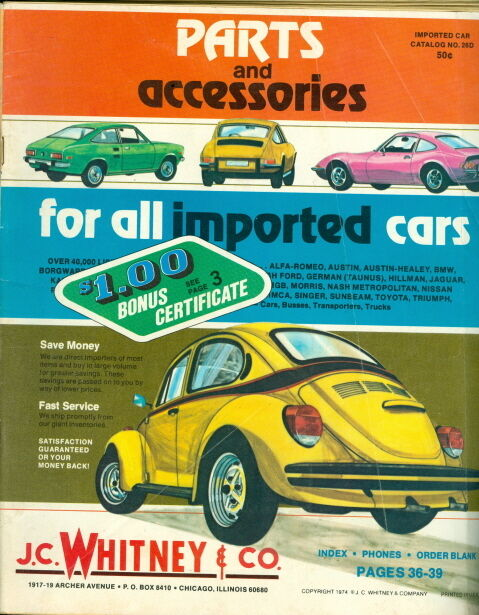1974 j c whitney co auto parts imported cars ebay for Jc motors used cars