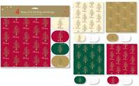 4 Sheets of Foil Christmas Wrap & Matching Gift Tags