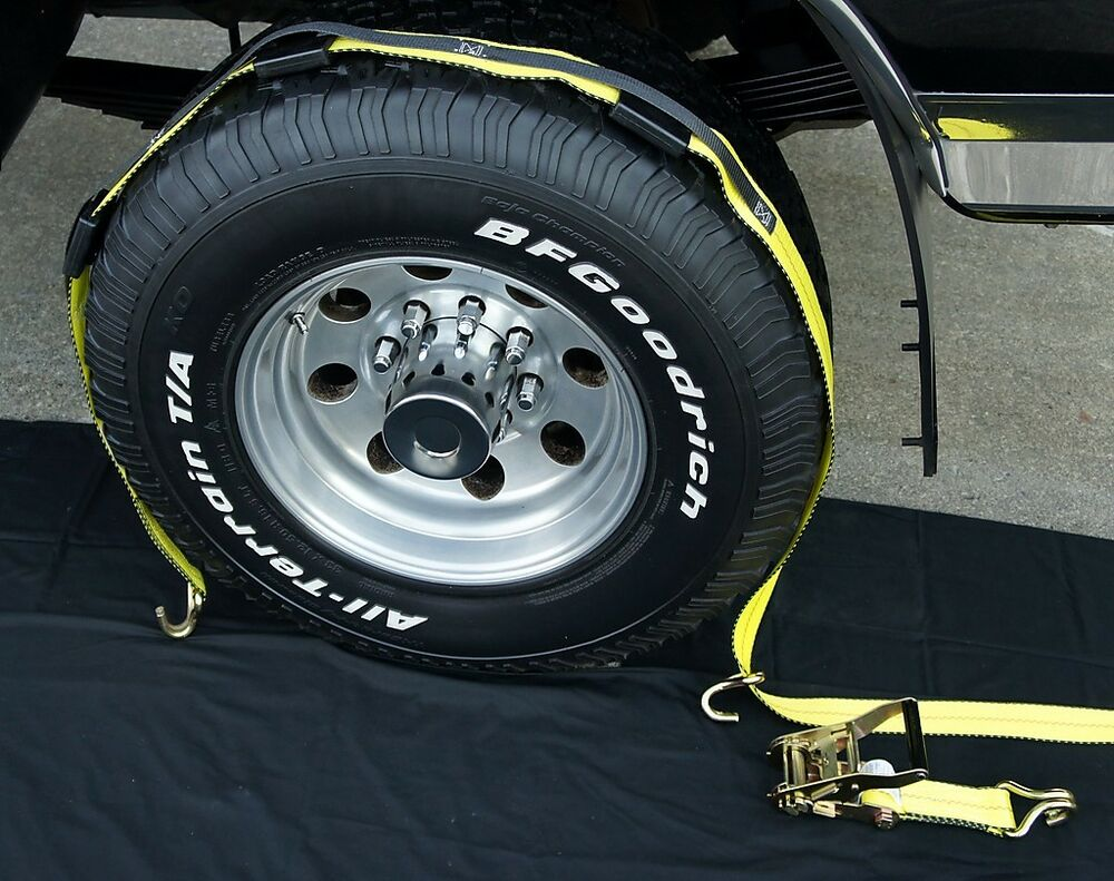 1 Over The Tire Car Hauler Tow Dolly Tie Down Straps 3w Ebay