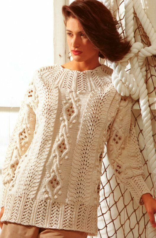 Knitting Designs For Ladies : Womans ladies aran wool cotton lace bobble sweater to