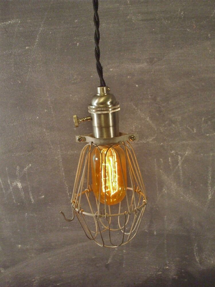 Vintage Industrial Pendant Light With Bulb Cage Antique