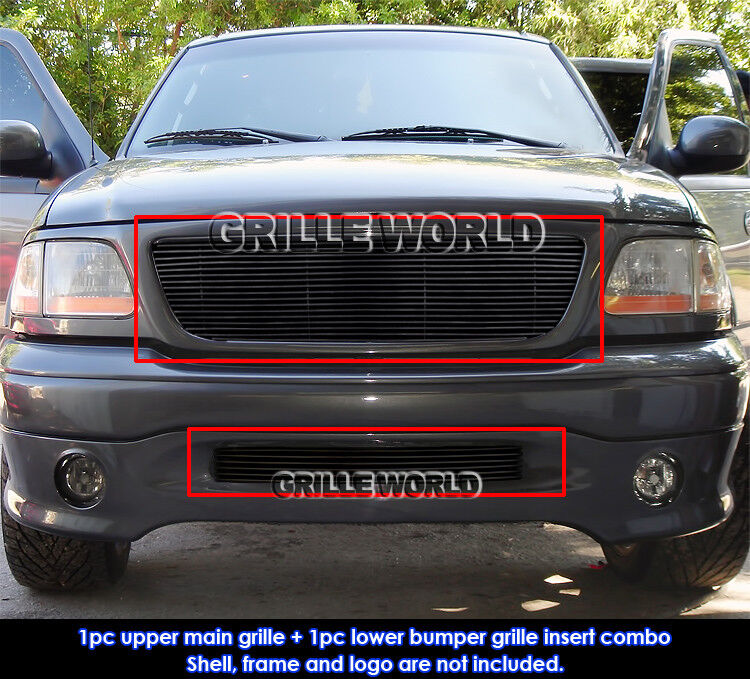 99 F150 Black: For 99-03 F-150 Harley Davidson Black Billet Grille Combo