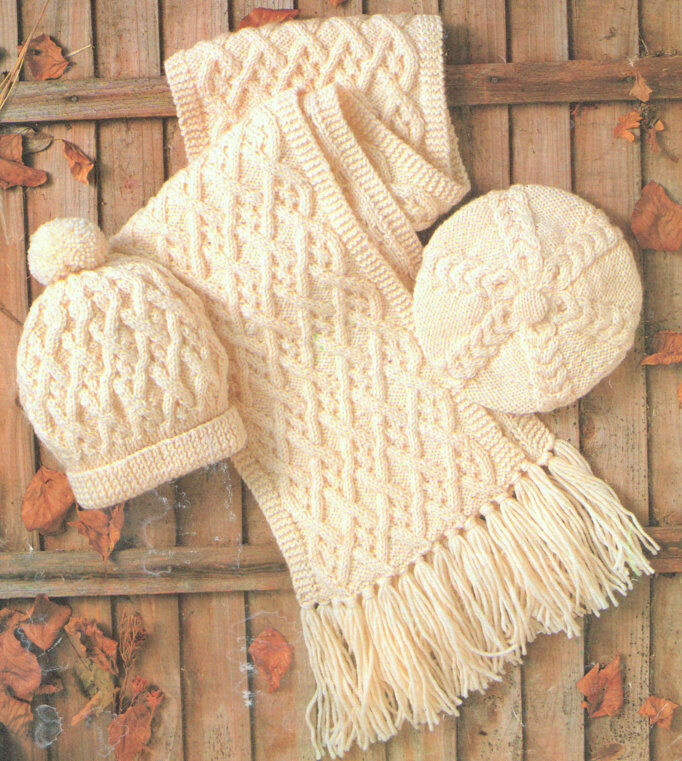 Aran Scarf Beret Amp Hat Knitting Pattern Adult Or Child Ebay