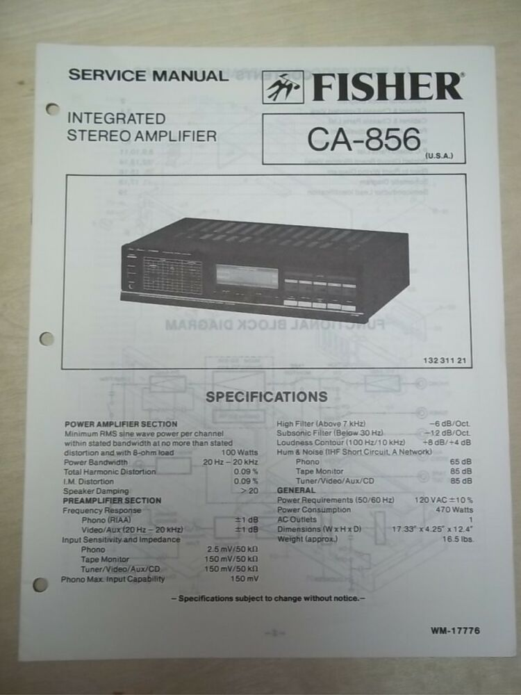 Fisher ServiceRepair Manual CA856    Amplifier   Amp   eBay