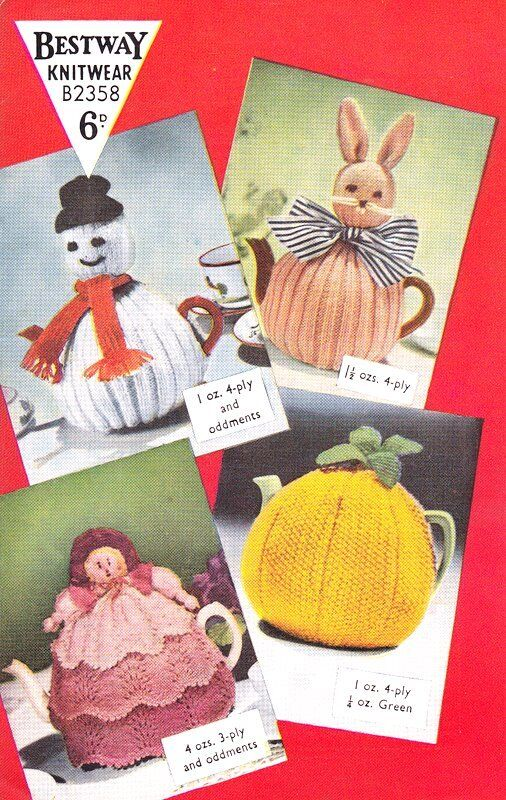 Novelty Tea Cosy Knitting Patterns : Vintage Bestway Knitting Pattern Novelty Tea Cosy Rabbit Doll Orange Snowman ...