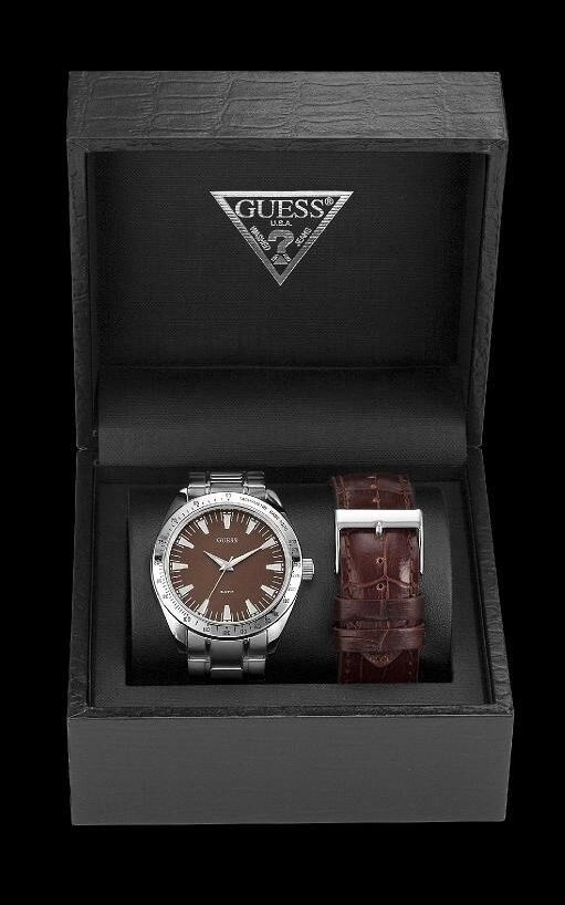 All Mens Sale Guess >> NEW GUESS MEN WATCH SS METAL BRACELET BROWN LEATHER STRAP