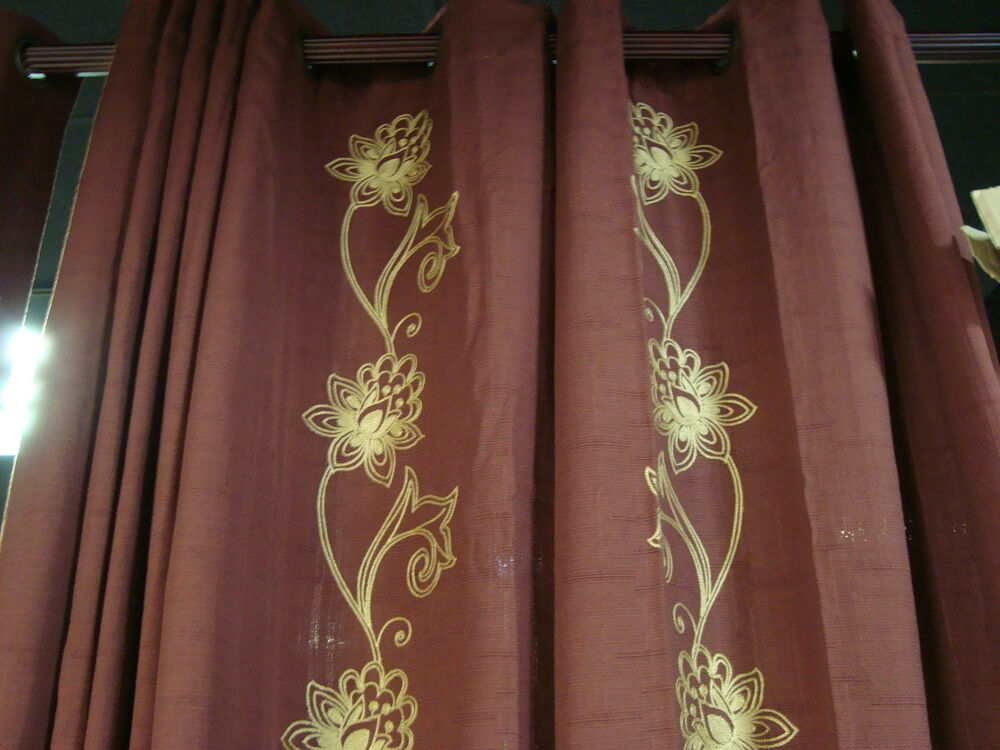 Jcpenney Linden Street Grommet Chocolate Floral Curtains Drapes Pair 84x84 120 Ebay