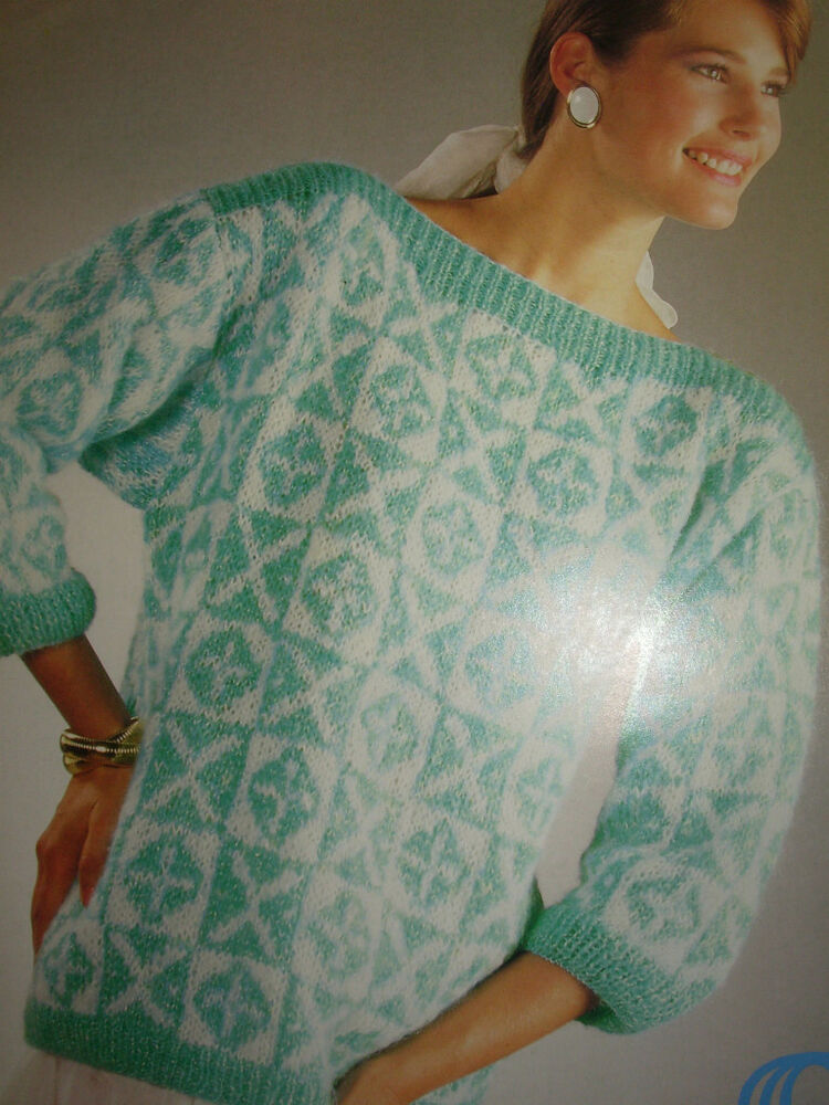 Sirdar Knitting Pattern Help : VINTAGE 198Os SIRDAR KNITTING PATTERN LADIES SLASH NECK ...