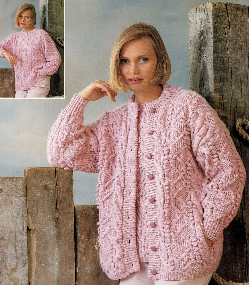 Free Cable Knit Afghan Pattern : Aran / DK Round Neck CARDIGAN & SWEATER Knitting Pattern Womans Ladies ...