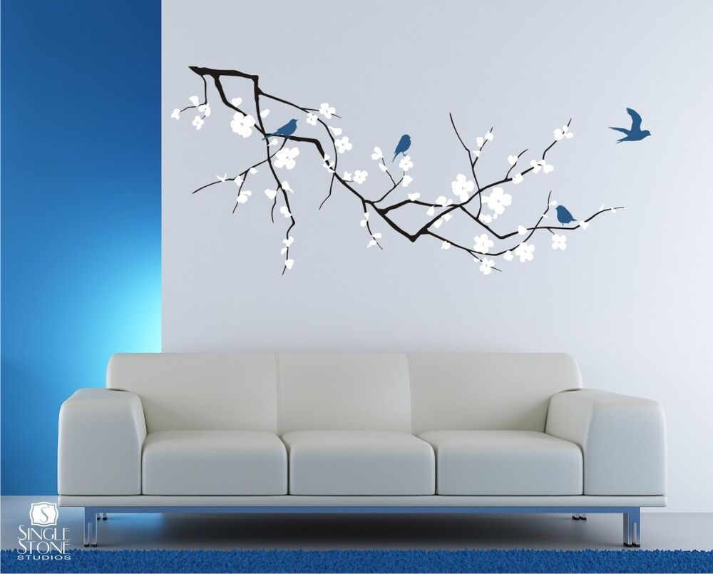 wall decals cherry blossom with birds 3 colors vinyl art stickers ebay. Black Bedroom Furniture Sets. Home Design Ideas