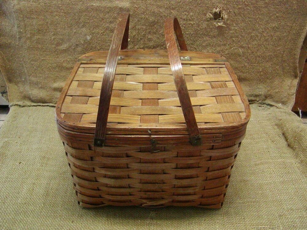 Picnic Basket Pie : Vintage weaved picnic basket antique box boxes wooden