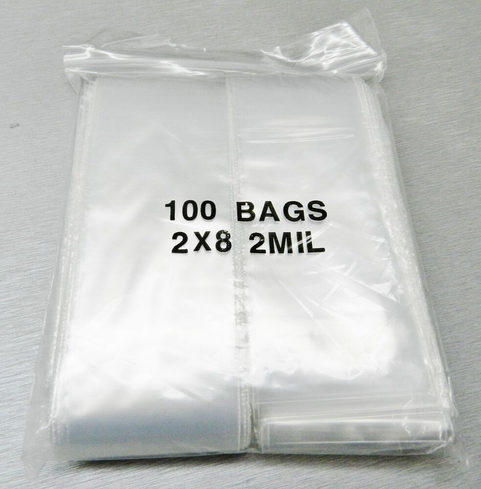 zip lock bag clear zip seal bags 2mil reclosable poly bag 2 x 8 100 pieces ebay. Black Bedroom Furniture Sets. Home Design Ideas