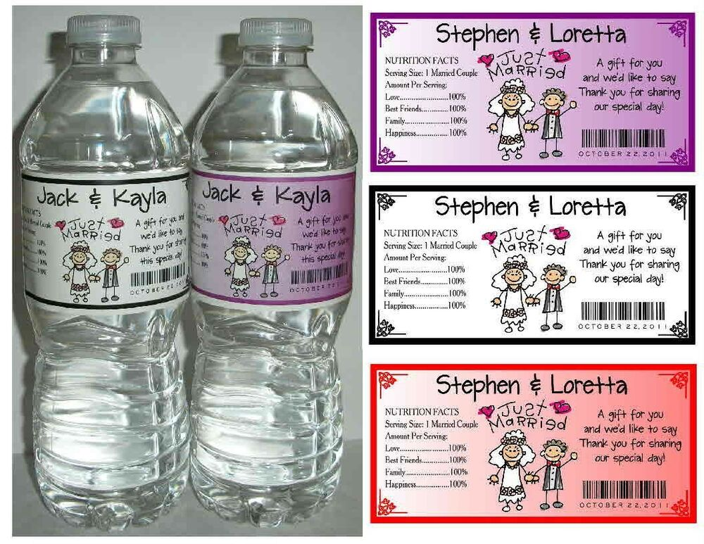 100 wedding water bottle labels waterproof glossy personalized