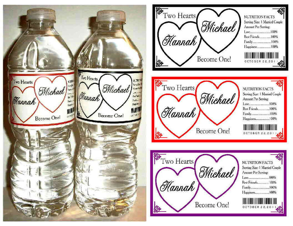 100 hearts wedding water bottle labels waterproof any color ebay