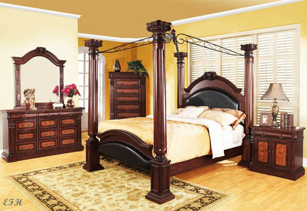 NEW 4PC PRADO TRADITIONAL CHERRY FINISH WOOD CANOPY