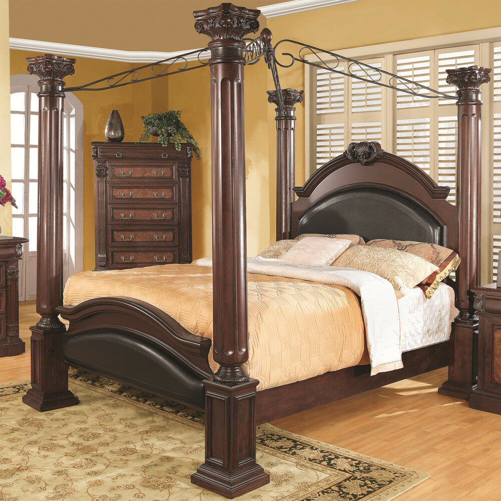 traditional cherry finish wood four post queen king canopy bed ebay