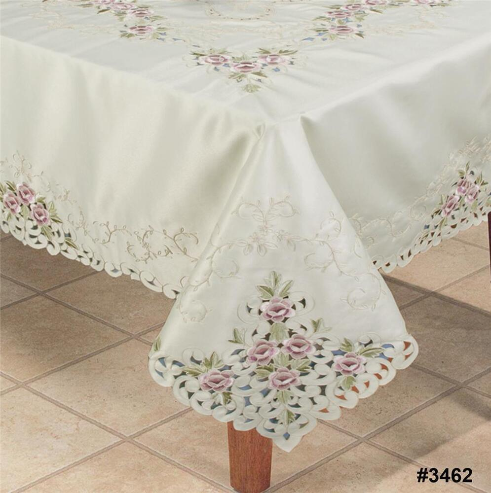 Rose Embroidered Towels: Embroidered Purple Rose Floral Cutwork Tablecloth 70x120