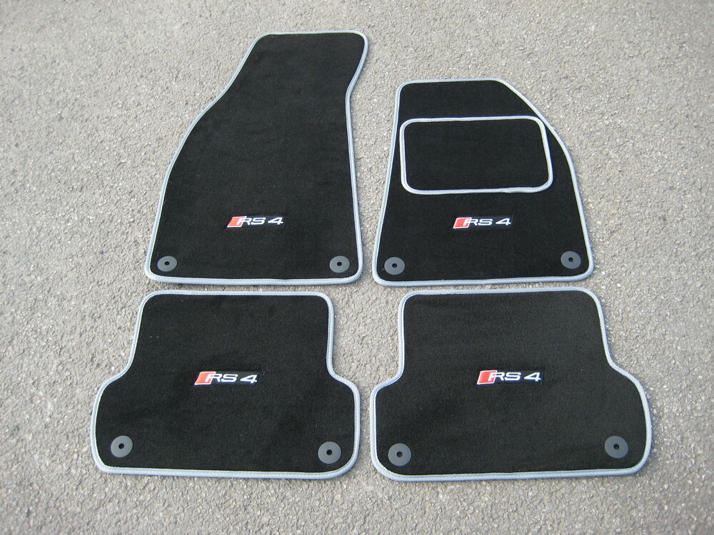 black silver super velour car mats to fit audi rs4 b7 06. Black Bedroom Furniture Sets. Home Design Ideas