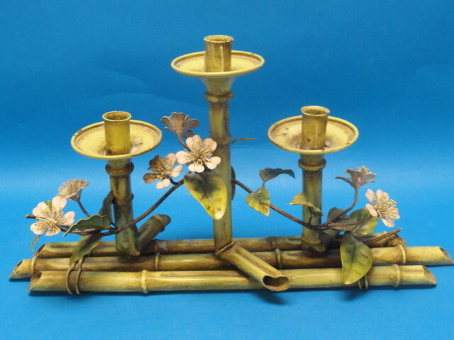 Vintage italian tole faux bamboo floral centerpiece