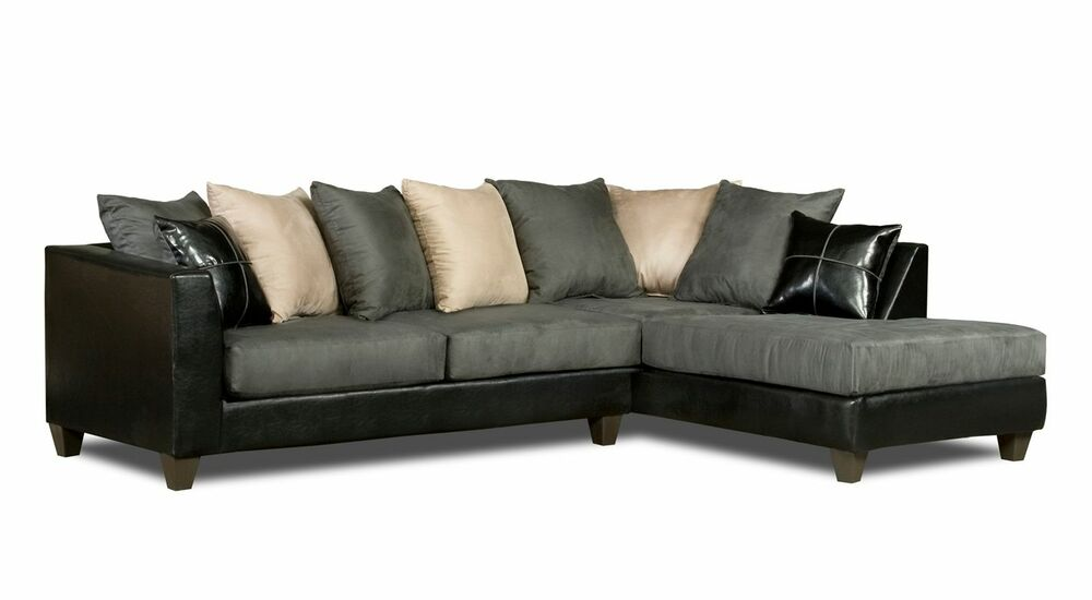 Casual black gray microfiber sectional sofa w chaise for Gray microfiber sectional sofa with chaise