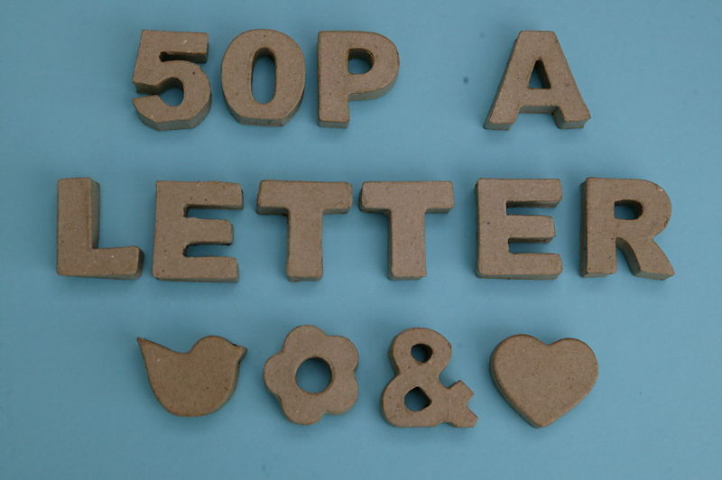 Paper mache wooden letters numbers various fonts for Ebay wooden letters