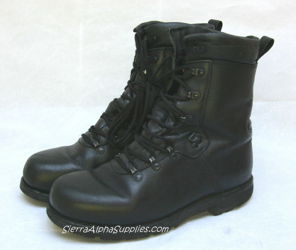GERMAN ARMY SURPLUS BLACK LEATHER Gde 1 COMBAT PARA BOOTS