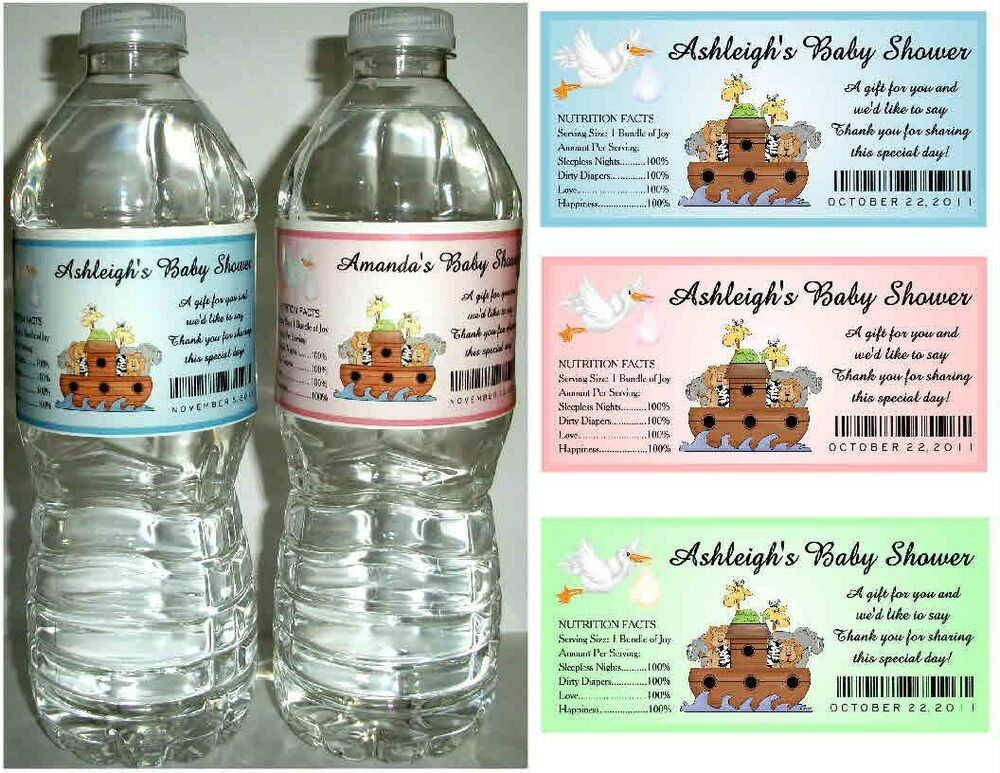 20 Noahs Ark Baby Shower Favors Water Bottle Labels