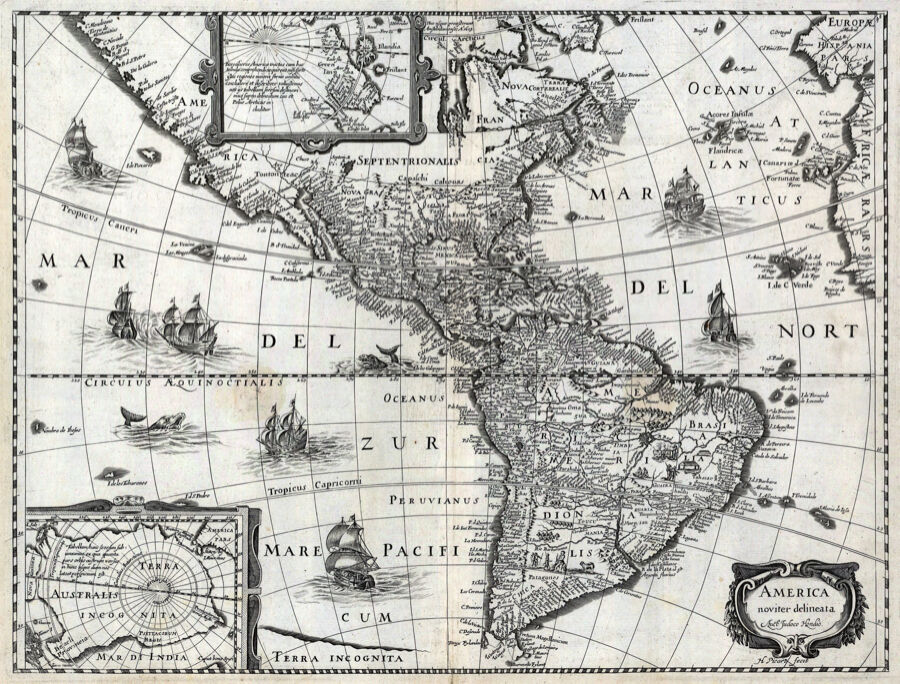 Decor B W Poster Antique Map Of America Geography Home