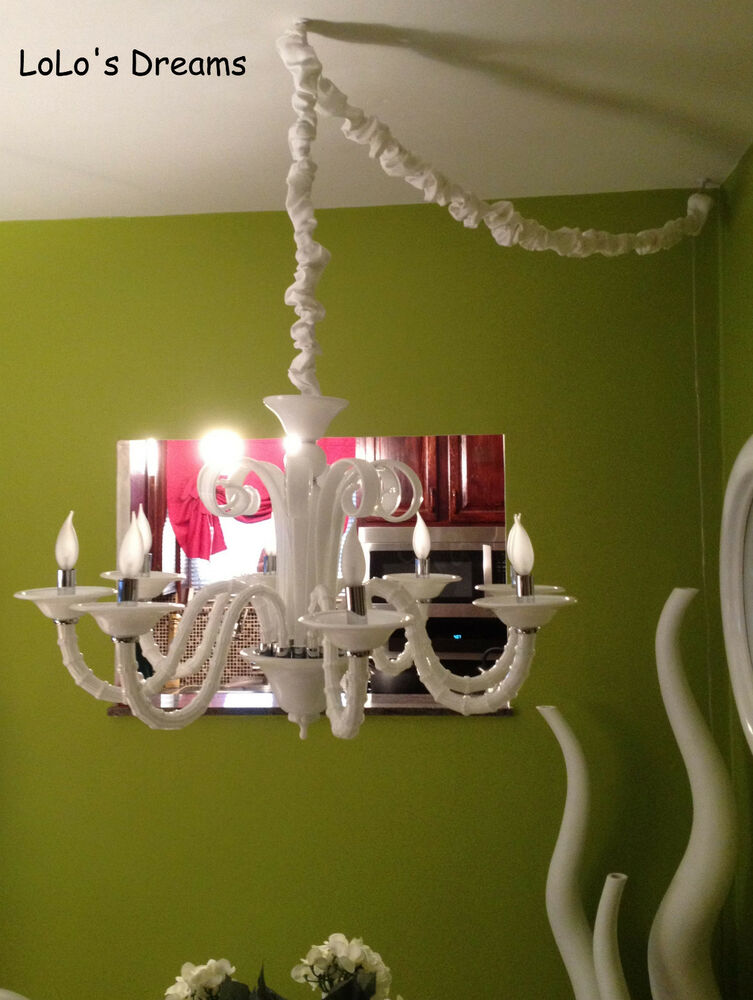 sale chandelier chain cord 6 ft cover velcro faux silk 10 colors ebay. Black Bedroom Furniture Sets. Home Design Ideas