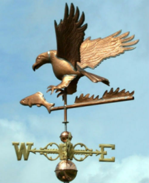Vintage Weather Vane: WONDERFUL EAGLE WEATHERVANE W/FISH COPPER BALLS & BRASS