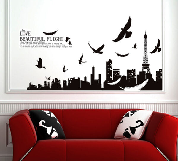 paris wall art wall decals will bring the french elegance into your interior ebay. Black Bedroom Furniture Sets. Home Design Ideas