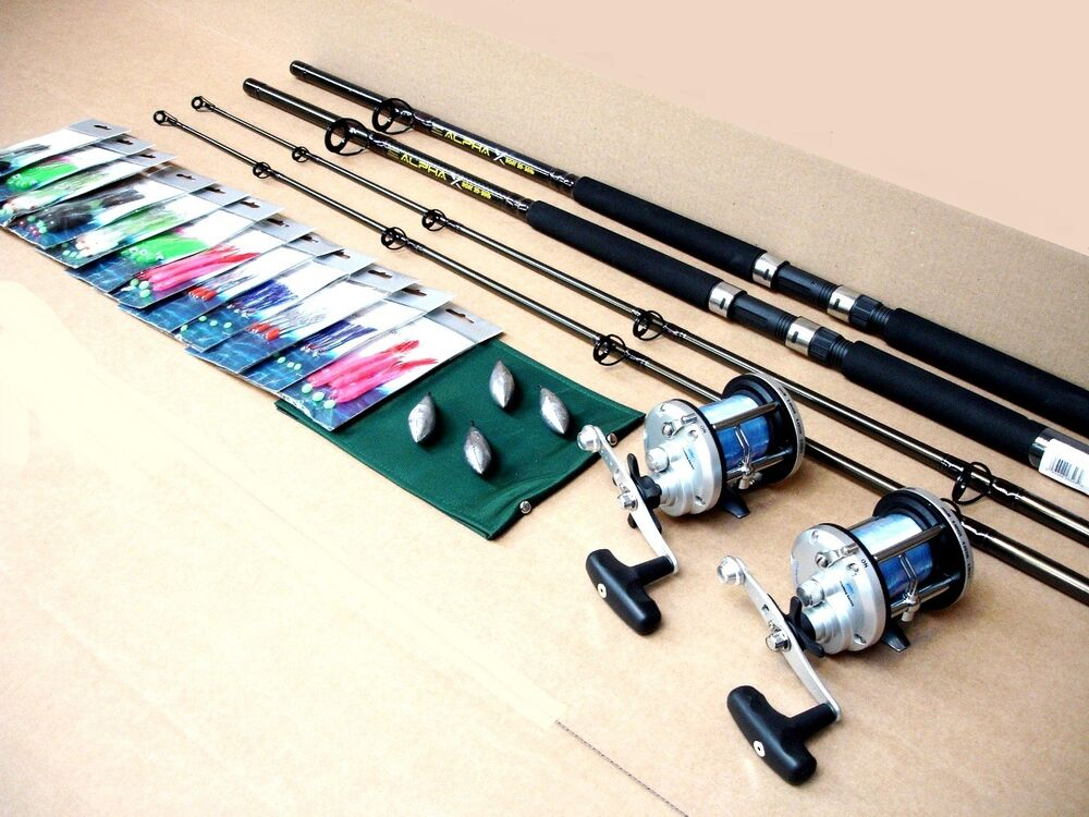 2 x boat fishing rods jd500 reels and all tackle needed to for Boat fishing rods